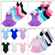 Girl Kids Gymnastics Ballet Dance Dress Leotard Skating Tutu Skirt Costume 3-14