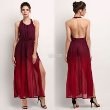 Women Pleated Dress Long Backless Sleeveless Bohemian Cocktail Party Dresses