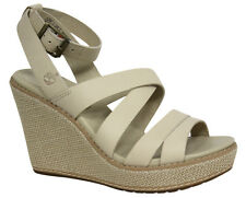 Timberland Earthkeepers Womens Wedge Sandals Cream Leather 3950R U3
