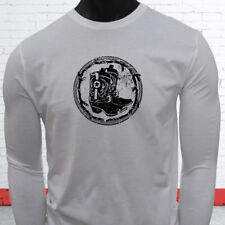 RODEO COWBOY BOOTS BLACK COUNTRY WESTERN COWGIRL Mens White Long Sleeve T-Shirt