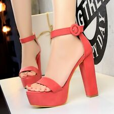 Open Toe Platform Block Heel Ankle Strap Buckle Suede Sexy Sandal Women Shoes
