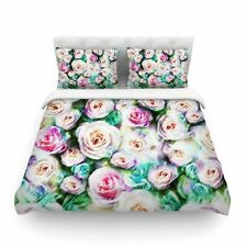 Bright Rose Floral Abstract by Dawid Roc Featherweight Duvet Cover