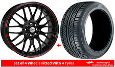 """Alloy Wheels & Tyres 17"""" Calibre Motion For Fiat 500 Abarth 08-17"""