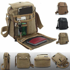 Men's School Military Leather Shoulder Bag Vintage Canvas Satchel Messenger Bag