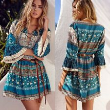 BOHO Women's Lace Up Short Mini Dress Beach Evening Cocktail Party Sundress NEW