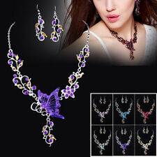 Butterfly Flower Crystal Rhinestone Pendant Necklace Earrings Jewelry Set Gift