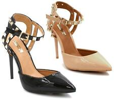 WOMENS LADIES HIGH HEEL CONTRAST STUDDED CUFF POINTED COURT SHOES SANDALS SIZE