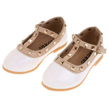 Kids Girls Flat School Shoes PU Leather Mary Jane T-Bar Dress Ballet Shoes White