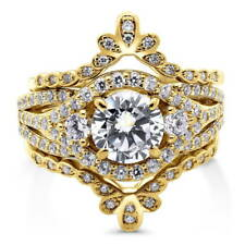 BERRICLE Gold Over Silver CZ 3-Stone Crown Flower Engagement Ring Set 2.23 Carat