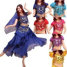 Coloured Bead Chiffon Short Sleeved Top Belly Dance Coin Top Gypsy Blouse Shirt