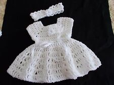Handmade Crochet baby dress, 0-3 months by Rocky Mountain Marty