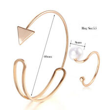 Womens Bangle Fashion Love Cuff Triangle Bracelet Gold Filled Adjustable