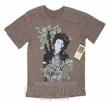New Mens Rock and Roll Hall of Fame Jimi Kendrix Graphic T-shirt Brown L XL