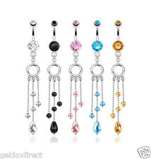 Surgical Steel CZ Gem Belly Bar / Navel Ring with Multi Strand Bead Dangle