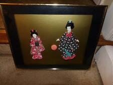 GEISHAI RARE PICTURE OF 2 WOMEN IN MATERIAL FRAMED GREAT FOR A COLLECTOR PICTURE