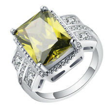 Women's Size 7-10 yellow Emerald Zircon Ring 10Kt White Gold Filled Wedding Band