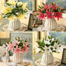 5Pcs/Sheaf Artificial Lily Flowers Wedding Bridal Home Bouquet Decoration Gift