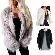 High quality Long Collared Vintage Fox Winter Warm Fluffy Faux Fur Coat sz 8