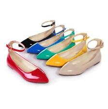 Womens Pointy Toe Faux Patent Collegiate Ankle Strap Flat Oxford Boat Shoes Plus
