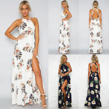 Boho Womens Summer Beach White Floral Pattern Halter Chiffon Long Maxi Dress