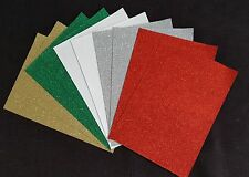10 x A4 Soft Touch Sparkly Glitter Card / Paper (Christmas Mix)