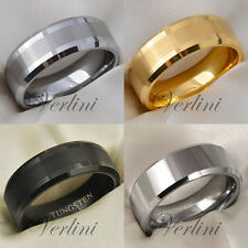 8 mm Flat APOLLO Tungsten Carbide Ring Silver Gold Black Men Wedding Band Rings
