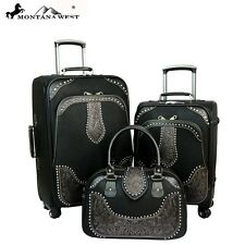 Montana West Western Tooled Leather Collection 3 PC Luggage Set /3 color choices