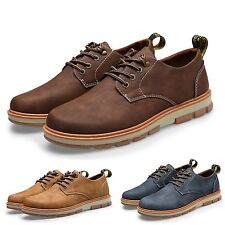 Chelsea Work Fashion Combat Mens Chukka Ankle Boots faux leather Shoes size 6-10