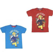 Nw Ex Store Fireman Sam Forest Fire Red or Blue Short Sleeved T-Shirt Top 4-8yrs
