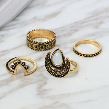 4pcs Gold Silver Punk Vintage Ring Women Retro Finger Rings Set Boho Carved Moon