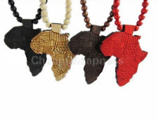 Hip-Hop Women Girl African Map Pendant Wood Bead Rosary Necklace W TB