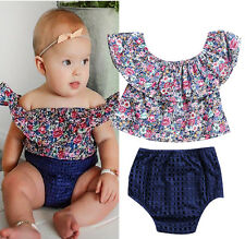 Newborn Kids Baby Girls Summer Off Shoulder Floral Tops Shorts Outfits Clothes