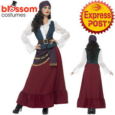 CA294 Deluxe Pirate Buccaneer Beauty Wench Long Dress Costume Captain Carribbean