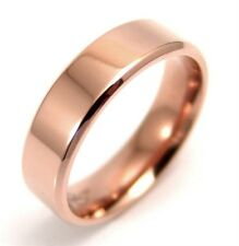 Rose Gold PVD Traditional Wedding Ring Comfort Fit Hypoallergenic Surgical Steel