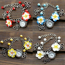 Women's Charm Flowers Watch Beads Butterfly Chain Bracelet Wrist Watch Little