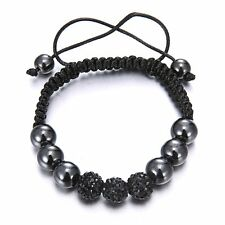 Fashion Women Men Crystal Leather Braided Bracelet Beaded Bangle Friends Jewelry