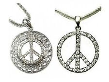 Silver Hippie Peace Sign Necklace Pendant Diamante Crystal Fancy Dress Women UK