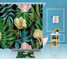 "Flowers Leaves Colorful 72/79"" Decor Curtain Rug Bathroom Shower Carpet Mat 3470"