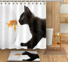 "Cat and Fish 72/79"" Bathroom Shower Curtain Bathing Decor Home Rug Carpet 4071"