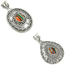 925 sterling silver rainbow calsilica pendant jewelry by jewelexi 5454A