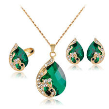 Women's Crystal Pendant Necklace Earrings Ring Party Wedding Jewelry Set Little