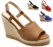 WOMENS WEDGE HEEL ANKLE BUCKLE SLINGBACK ESPADRILLE  PEEPTOE SUMMER SANDALS SHOE
