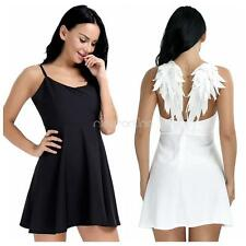 Womens Angel Wings Backless Mini Dress Party Clubwear Cocktail Dress Black White