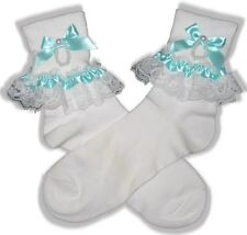 White Lace MINT Ribbon Lacy Socks for Adult Little Girl Sissy Dress up LEANNE
