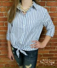 NWT Boutique Umgee Tie Front Oxford Shirt - Blue Stripe - Small, Medium & Large