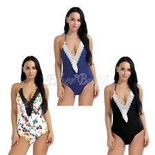 Lady Floral Bandage One Piece Halter Bikini Monokini Push Up Padded Bra Swimsuit