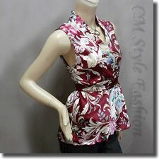 Japanese Kimono Sleeveless Floral Silky Satin Tank Top Burgundy S/M/L/XL/2XL/3XL