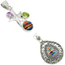 925 sterling silver rainbow calsilica pendant jewelry by jewelexi 6619A