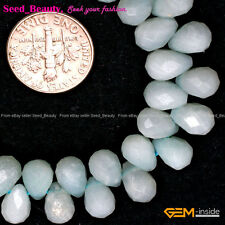 """6x9mm Faceted Teardrop Pure Amazonite Jewelry Making DIY Loose Beads Strand 15"""""""