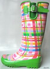 new SPERRY Top-Sider 'Pelican' pink/green plaid fleece-lined SNOW RAIN BOOTS